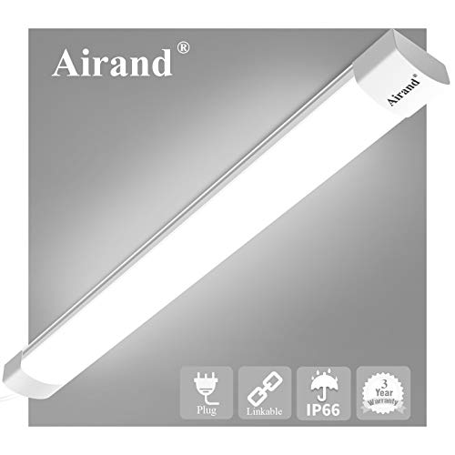 LED Shop Lights for Garage 4 Foot with Plug, Airand Waterproof Linkable LED Tube Light 5000K Under Cabinet Lighting,3600 LM LED Ceiling and Closet Light 36W, Corded Electric with ON/Off Switch