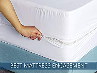 +15 Inch Hypoallergenic Waterproof Mattress Protector Full Size Anti-Bacterial Encasement style Breathable Membrane Premium-BY Rajlinen Aashi Rainwear Pocket Depth White Solid 100/% Anti-Allergy
