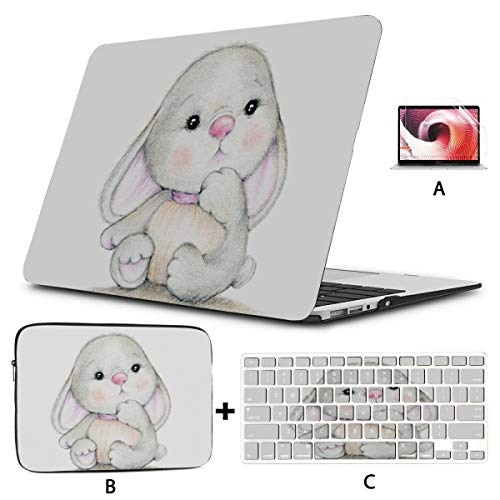 Laptop Protective Case Cute Bunny Macbookpro Case Hard Shell Mac Air 11'/13' Pro 13'/15'/16' With Notebook Sleeve Bag For Macbook 2008-2020 Version