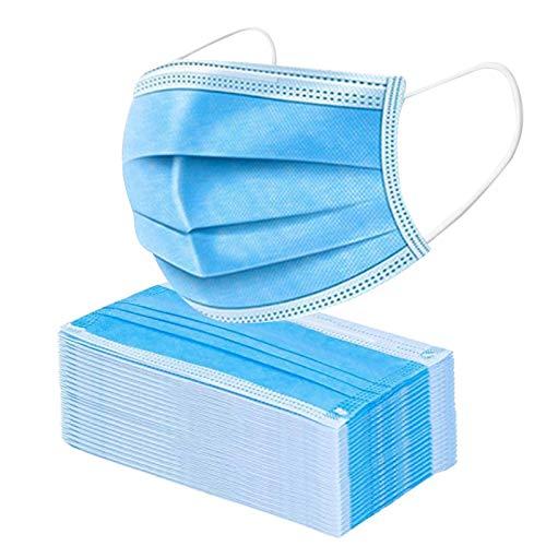 Einweg Masken 50 Stück, Masken mundschutz 3-lagig, Schützt vor Staub, Atmungsaktiv, Unisex, Einweg-Ohrschlaufen, Blau (50 Pcs)