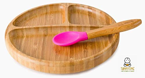 Juego de platos de succión para bebés y juego de cucharas a juego, plato de alimentación de succión para colocar en la succión ideal para bebés LED WEANING, Natural Bamboo