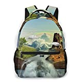 EUlemon Travel Laptop Backpack,Fantasy Book Nature Scenery Magic Book Floating On Clouds Inner Mountain Forest Waterfall Rainbow,Business Water Resistant Anti Theft Computer Daypack Slim Durable