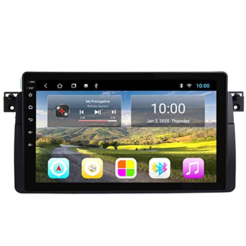 Estéreo de coche Navegación GPS para automóvil, reproductor de unidad de automóvil estéreo multimedia Android 8.1 de 9 pulgadas para BMW E46 M3 318/320/325/330/335, con pantalla táctil automática HD,