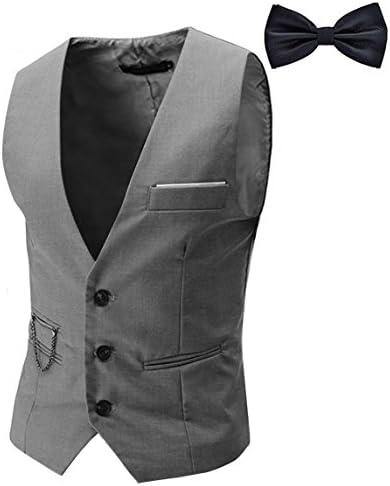 Tueenhuge Men s Top Designed Tuxedo Blazer Suit Vest Waistcoat with Bow Tie Grey product image