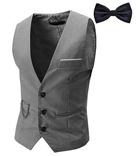 Tueenhuge Men's Top Designed Tuxedo Blazer Suit Vest Waistcoat with Bow Tie Grey