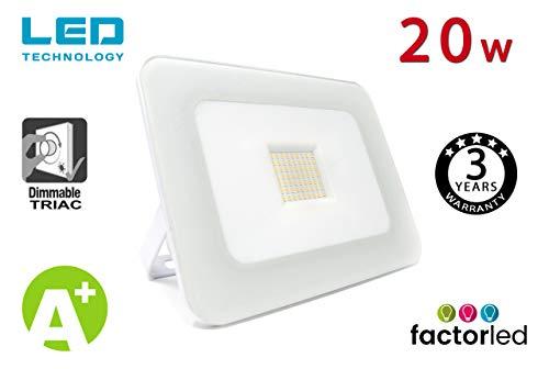 FactorLED Foco Proyector 20W LED Luxury Blanco, Iluminación Exterior 2200Lm, Dimable TRIAC, Foco Led IP65, Diseño Arquitectónico [Eficiencia energética A+] Floodlight 20w Outdoor (Blanco Neutro)