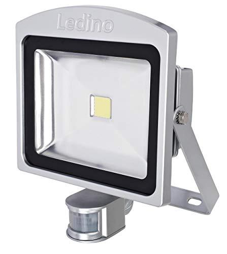 Ledino LED-Strahler Silber 50W Bewegungsmelder 3000K Alu IP44