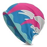 Skull cap Sky-Flower Pink Dolphin.Png Cappello Lavorato a Maglia per Adulti Beanie Hat Pullover per Uomo e Donna