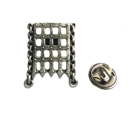 Asteria Accessories Portcullis Lapel Pin Badge, Fine English Pewter. Castle Gate