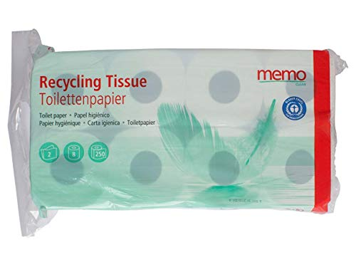 memo Toilettenpapier Recycling Tissue, 2lagig, 8 Rollen à 250 Blatt.