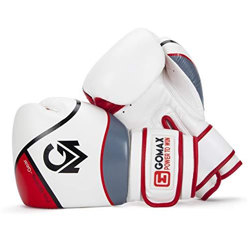 GoMax Boxhandschuhe aus Leder, 6, 8, 10, 12, 14, 16 g, Boxhandschuhe für Training, Boxen, Sparring, Boxsack, Handschuhe, Muay Thai, Kickboxen, MMA, Kampfsport, Workout-Handschuhe (170 g, rot/weiß)