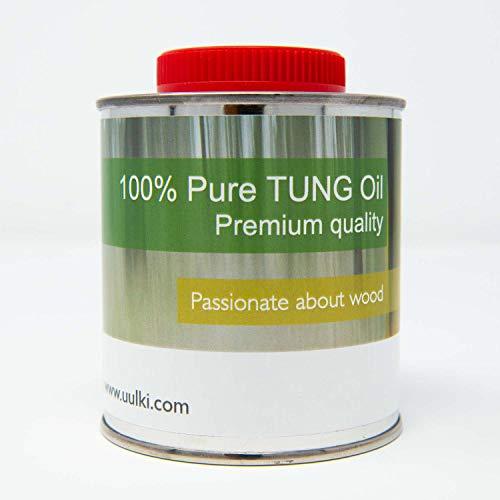 Uulki Aceite de tung 100% Puro | Cuidado de la madera para interiores y exteriores | Natural - Alimento Seguro - Impermeable (250 ml)