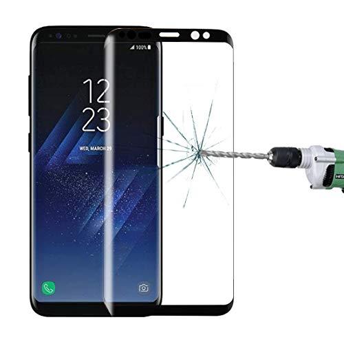 LYYCEU for Galaxy S8 + / G955 0.26mm 9H Oberflächenhärte 3D gebogener Seidenbildschirm Vollschirmtemperierter Glasschirmschutz mit vollem Klebstoff Telefon gehärteter Film (Color : Black)