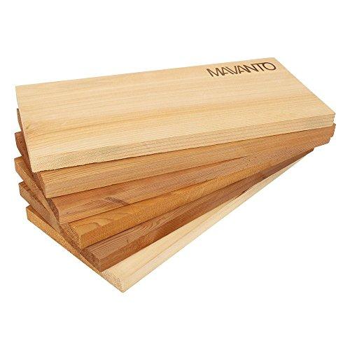 41 Oen3i8WL - MAVANTO® XXL Grillbretter Räucherbretter - Kanadisches Zedernholzbrett zum Grillen - EXTRA DICK (30x14x1,5cm) langlebig & wiederverwendbar (6er Set)