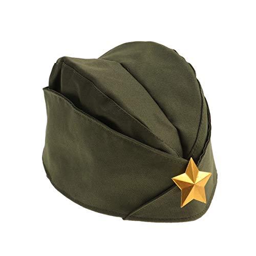 STOBOK Gorra Lateral Militar Sombrero Soviético Pilotka Caqui Sombrero del Ejército Ruso con Estrella de Oro para La Fiesta de Cosplay de Carnaval (Ejército Verde + Estrella de Oro)