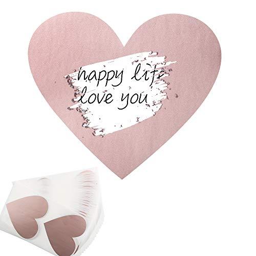 JNCH 50pz Gratta e Vinci Adesivo Etichette Scratch Sticker Cuore per Regalo Biglietto d'Invito Matrimonio Festa Fai da Te Oro Rosa