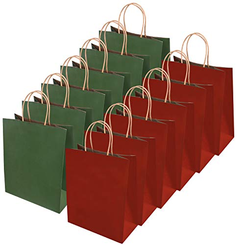 Livder 24 Pieces Christmas Red Green Paper Bags (10.6 x 8.66 x 4.3 Inches)