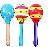 Uooker 3er Pack 4,5 'Holz Fiesta Maracas Rassel Shaker Ei Handbell Musikalische Pädagogische Party Bevorzugung Kind Baby Shaker Sand Hammer Spielzeug Zufällige Farbe