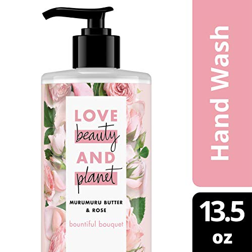Love Beauty & Planet Bountiful Bouquet Hand Soap Murumuru Butter & Rose Wash Away Bacteria with Effective Plant-Based Cleansers 13.5 oz
