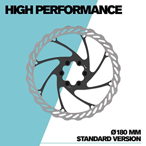 Alphatrail Bremsscheibe 180 mm Ø I Für Fahrrad Mountainbike MTB I 6 Loch Montage I Kein Centerlock I 180mm Durchmesser I Kompatibel zu Shimano Avid Hope Magura Tektro Sram Reverse UVM I Standard