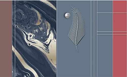 Papel tapiz fotográfico Hojas De Rayas De Mármol Azul Rojo Marrón 250x175 cm -5 pieces papel pintado de tejido-no-tejido,Lana Fondo De Pantalla Moderna Decoración De Pared