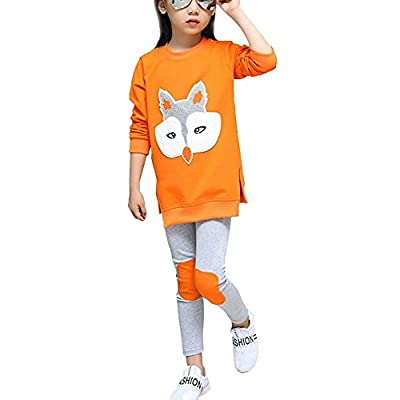 Little Girls Cute Long Sleeve Top & Pant Clothes Set Orange(Fox) 8-9 Years