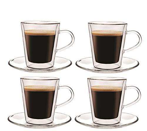 Maxxo Doppelwandige Gläser Lungo Set 4X 220 ml Kaffee Thermogläser mit Schwebe-Effekt beständig Kaffeegläser Trinkgläser