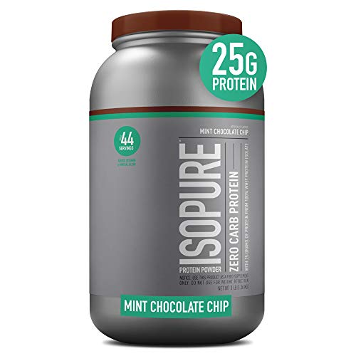 Isopure Zero Carb, Vitamin C and Zinc for Immune Support, 25g Protein, Keto Friendly Protein Powder, 100% Whey Protein Isolate, Flavor: Mint Chocolate Chip, 3 Pounds (Packaging May Vary)