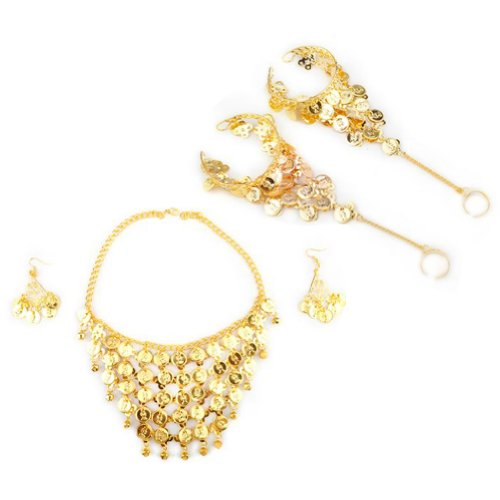 (Price / Set)HOEREV Belly Dance Jewelry - Coin Necklace & earrings & Bracelets