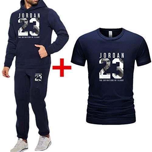Casual capuchon + joggingbroek + T-shirt 3-delig, Basketbal trainingspak Jordan # 23 Lange mouwen Sweaters capuchon met kangoeroezakken capuchon Broeken Sportswear,Blue,S