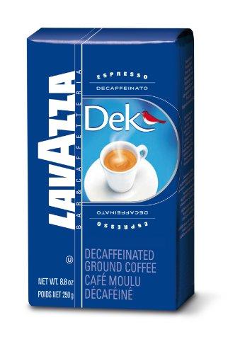 Lavazza Dek Ground Coffee Blend, Decaffeinated Dark Espresso Roast, 8.8-Ounce Bag