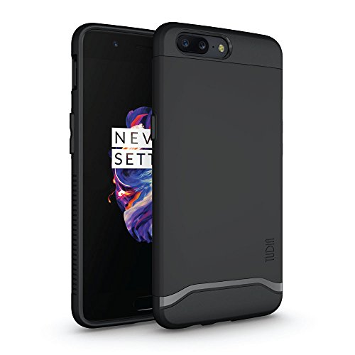TUDIA OnePlus 5 Case, Slim-Fit Heavy Duty [Merge] Extreme Protection/Rugged but Slim Dual Layer Case for OnePlus 5 (Matte Black)