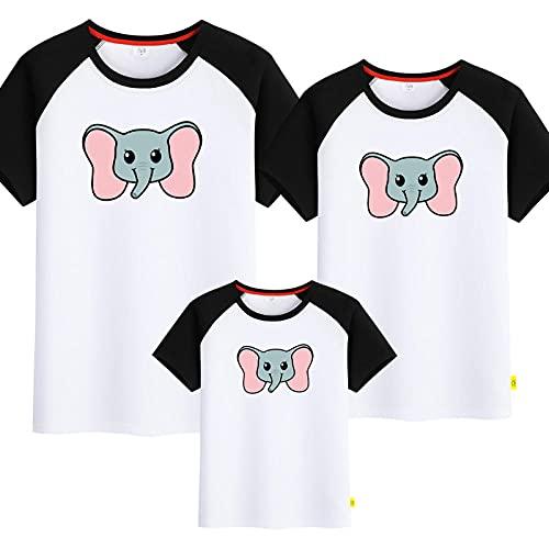 SANDA T-Shirt Familia Y Bebe,Pequeño Elefante Padre-Niño Vestido de Verano Nuevo Manga Corta Mejoras para el hogar Completo Patrón-niño Camiseta-En Blanco y Negro_Papá 4XL