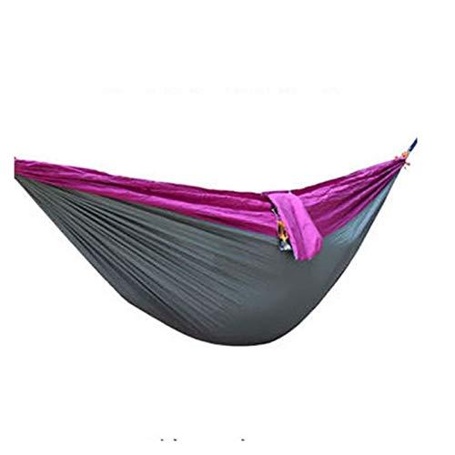 LIANYG Hammock Ultralight Outdoor Camping Hammock Sleep Swing Tree Bed Garden Backyard Furniture Hanging Chair Hangmat 270 * 140cm 144 (Color : Purple spell gray)