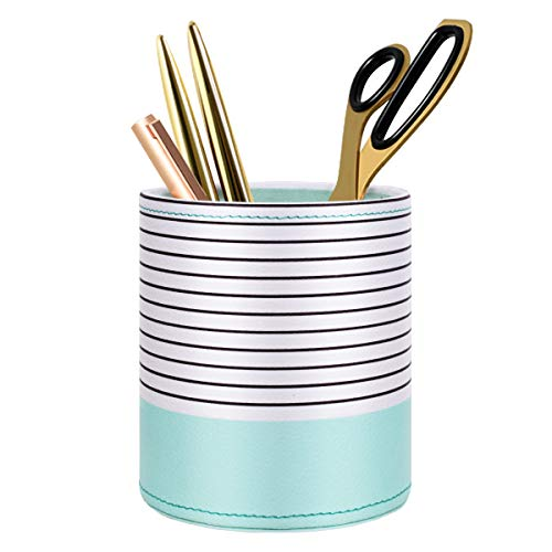 WAVEYU Pen Holder, Pencil Cup Pot Desk Organizer Multi Purpose Use Cute for Adults Kids Luxury Leather Makeup Brush Holder Ideal Gift for Home, Office, Classroom, Stripes Mint Green