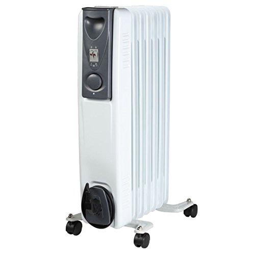 Moderne klassieke olie-radiator - 7 ribben elektrische verwarming - 1,5 kW mobiele elektrische verwarming op wielen - energiebesparende ruimte E-verwarming - NIEUW & OVP