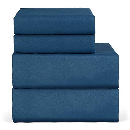 hyxt Oakome Bedding -4 Pezzi Set per Letto Doppio - Matrimoniale UK King Fitted Sheet with 2 Pillow Cases, Stain Resistant,Comfortable, Soft & Extremely Durable (Blue, Queen)