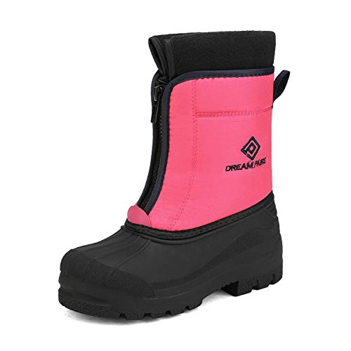 DREAM PAIRS Girls Cold Weather Insulated Waterproof Winter Snow Boots Fuchsia Navy Size 3 Little Kid Kstar