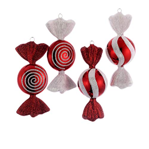 6' RED/WHITE CANDY ORNAMENT SET OF 4