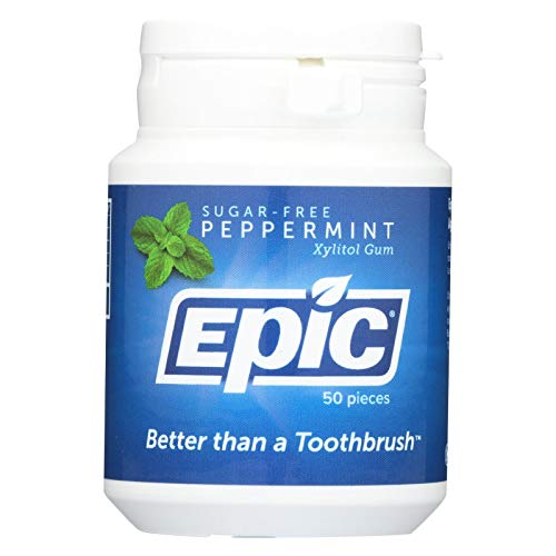 Epic Dental Peppermint Gum - Xylitol Sweetened - 50 Count - Gluten Free - Wheat Free - Vegan