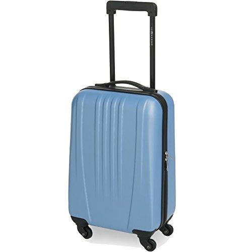 Dynamic24 31,5L Leonardo Koffer Reisekoffer Handgepäck Trolley Koffer Hartschale Boardcase (Hellblau)