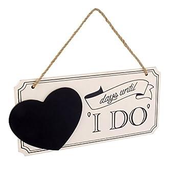 "Aysekone ""Days Until I Do"" Wedding Countdown Sign Wooden Heart Hanging Chalkboard Plaque"