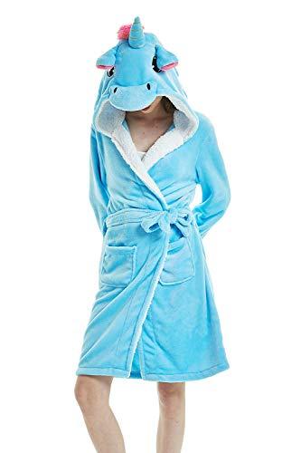 DecoBay Mujer Adulta Cachemir De Oveja Albornoz Animal Bonita Ropa De Baño Unicornio Estrella (Unicornio Azul, M)