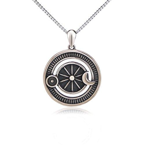 Flyow 925 Sterling Silber Halskette Oxidiert Vintage Sonne und Mond Anhänger Kette, Magie Schmuck für Damen
