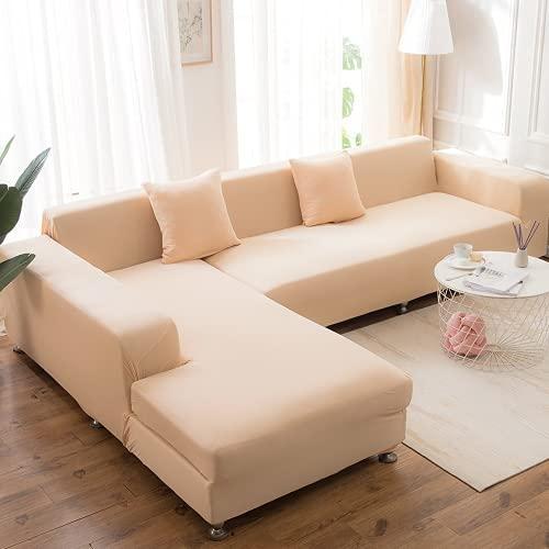 FENFANGAN Funda de sofá Universal, Fundas Sofa elasticas, para la Fundas para Sofa Chaise Longue de poliéster de la Sala de Estar, Protege el sofá de Manchas y daños (Beige,3-Seater 180-225cm)
