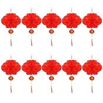 Chinese Red Paper Lanterns 5  8  12  16.5  for New Year Chinese Spring Festival Wedding Festival Restauran Decoration  20 cm/7.9  10 pcs