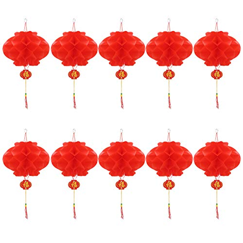 Chinese Red Paper Lanterns, 5, 8, 12, 16.5 for New Year, Chinese Spring Festival, Wedding, Festival, Restauran Decoration (20 cm/7.9, 10 pcs)