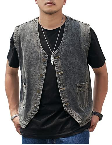 Omoone Mens Casual Denim Vest Sleeveless Jean Vests Jacket Button Down Jeans Vest(2177-Grey-XL)
