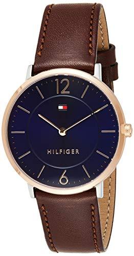 Tommy Hilfiger Herren Analog Quarz Armbanduhr mit Lederarmband 1710354