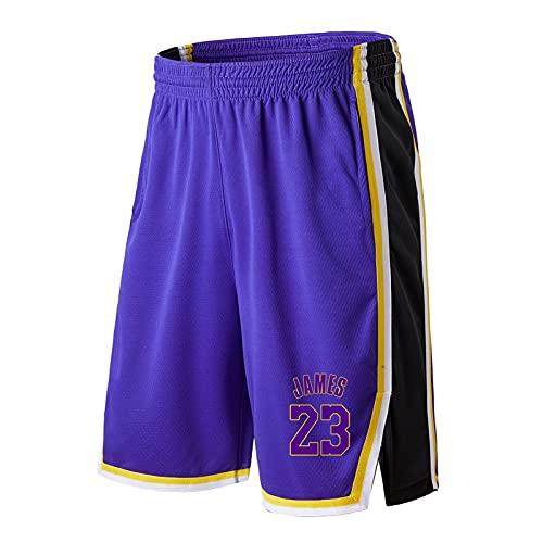 James # 23 Pantalones Cortos de Baloncesto, Pantalones de Baloncesto Sueltos entrenando Pantalones sobre los Pantalones de la Rodilla Pantalones de Cinco Puntos Pant Blue-XXXL